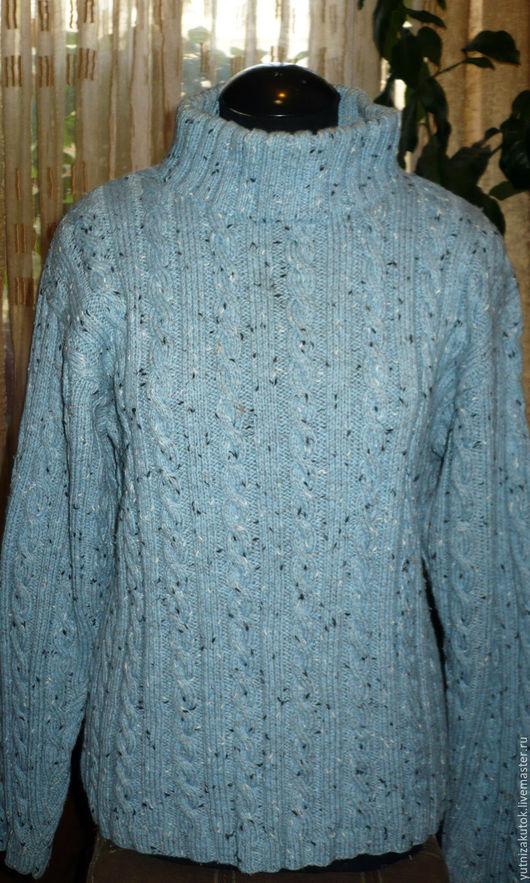 Кофты и свитера ручной работы. Ярмарка Мастеров - ручная работа. Купить Мужской вязаный свитер с косами. Handmade. Голубой, шерсть