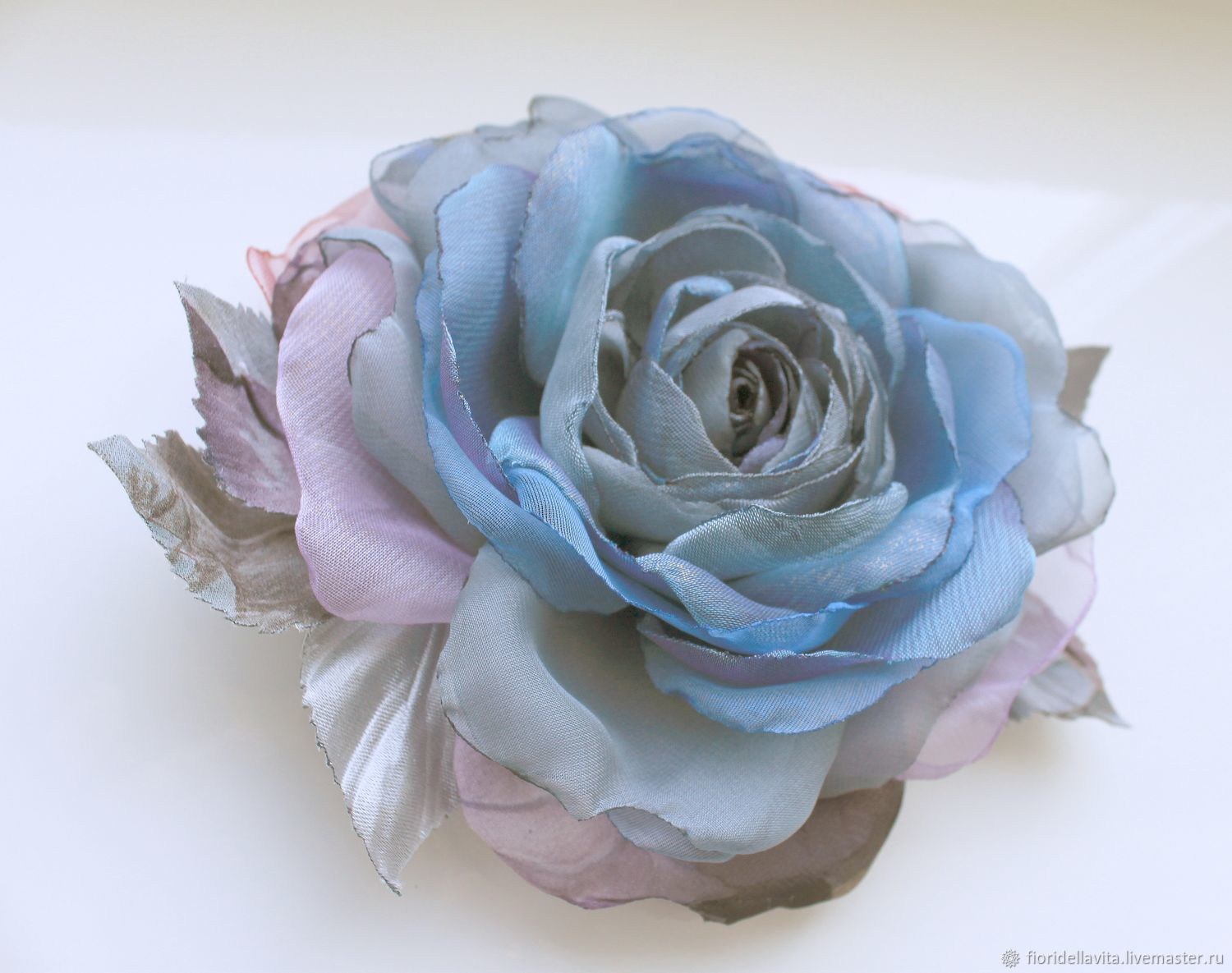 FABRIC FLOWERS. Chiffon rose ' Watercolor ', Brooches, Vidnoye,  Фото №1