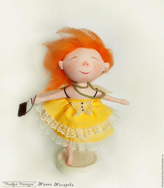 """Человечки ручной работы. Ярмарка Мастеров - ручная работа. Купить Текстильная кукла ангелочек """"Я летаю"""". Handmade. Оранжевый"""