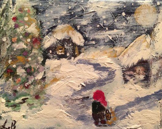 Фантазийные сюжеты ручной работы. Ярмарка Мастеров - ручная работа. Купить Рождество..... Handmade. Разноцветный, волшебство, гном, ночь