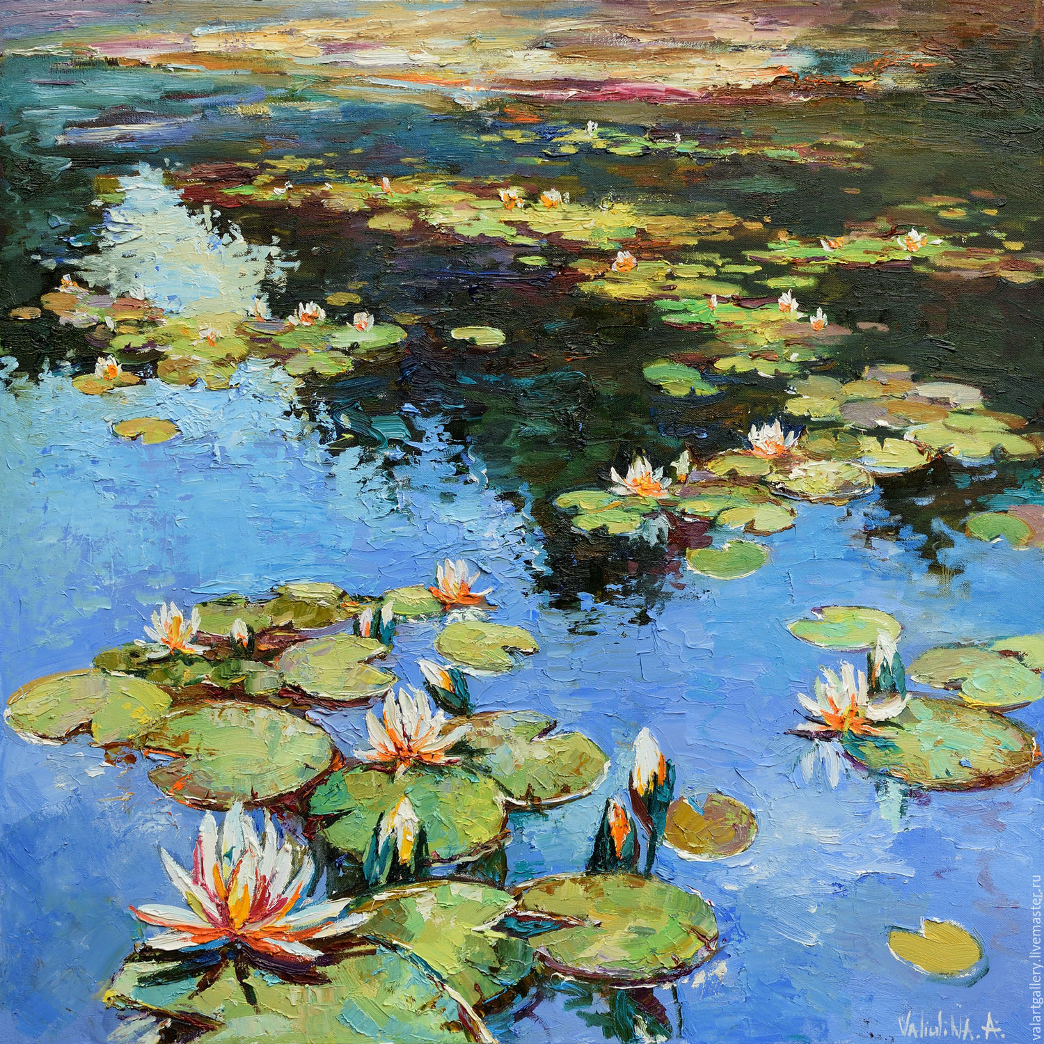 Water Lilies Large Oil Painting 90 X 90 Cm Shop Online On