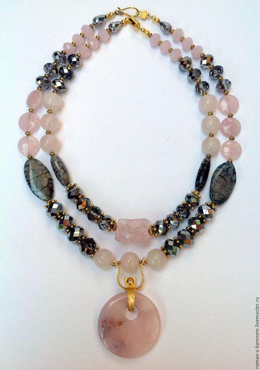 Гламурный комплект из натуральных камней и хрусталя в восточном стиле Северное сияние. Роскошный, оригинальный подарок для стильных, неординарных женщин.