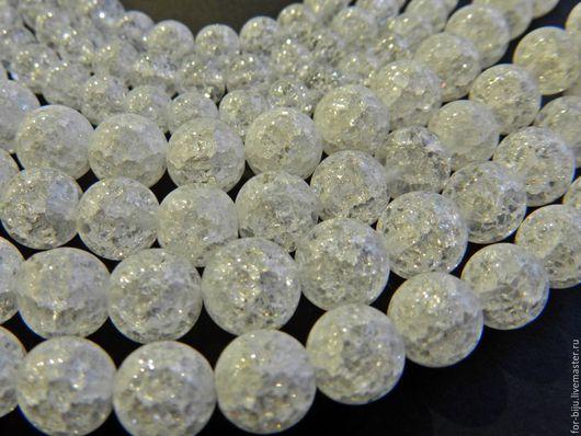 Сахарный кварц кракле гладкие бусины имитация, материал стекло, размер 6 мм, 8 мм, отверстие ок. 1 мм (арт. 1907)