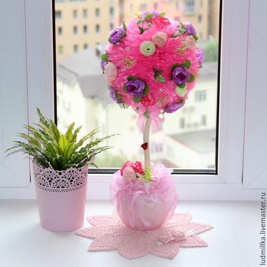 """Топиарии ручной работы. Ярмарка Мастеров - ручная работа. Купить Топиарий """"Розовый"""", дерево счастья. Handmade. Топиарий, топиарий москва"""