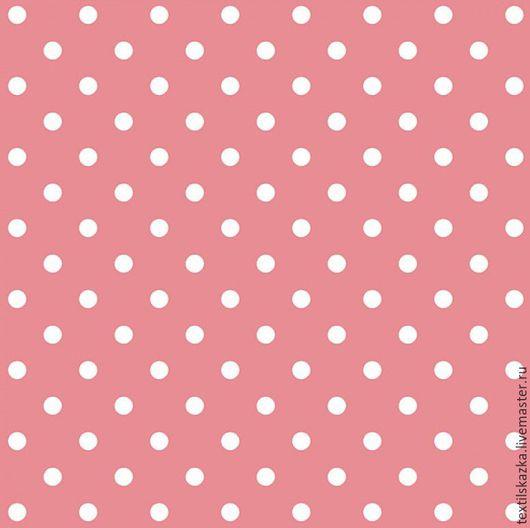Шитье ручной работы. Ярмарка Мастеров - ручная работа. Купить Ткань хлопок горошек Россия БМ розовый коралл. Handmade.