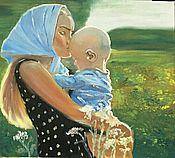 Картины и панно ручной работы. Ярмарка Мастеров - ручная работа Девушка с малышом. Handmade.