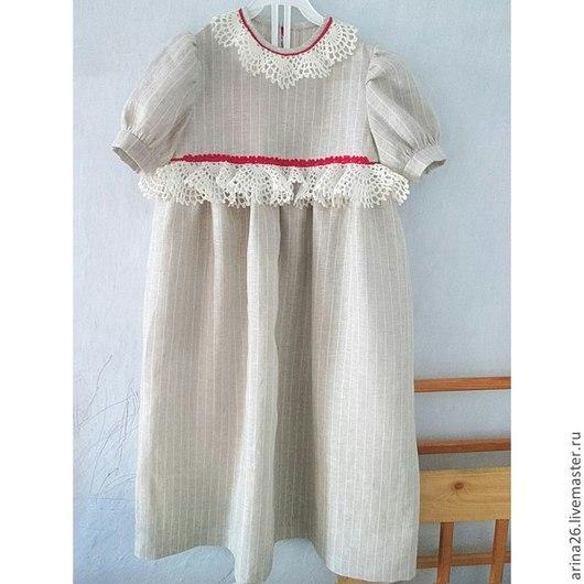 """Одежда для девочек, ручной работы. Ярмарка Мастеров - ручная работа. Купить Платье для девочки """"Сударушка"""" ткань натуральный лен.. Handmade."""