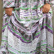 Одежда handmade. Livemaster - original item Long summer light dress made of cotton and lace in boho Provence style. Handmade.