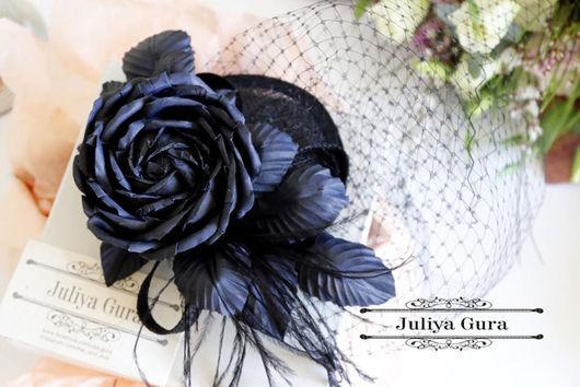 """Шляпы ручной работы. Ярмарка Мастеров - ручная работа. Купить Шляпка-вуалетка с цветком из шелка """"Black Rose"""". Handmade. Черный"""