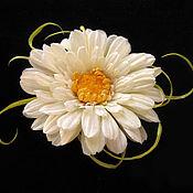 Украшения handmade. Livemaster - original item Silk flowers. Brooch hair clip WHITE GERBERA . Indian Mulberry silk. Handmade.