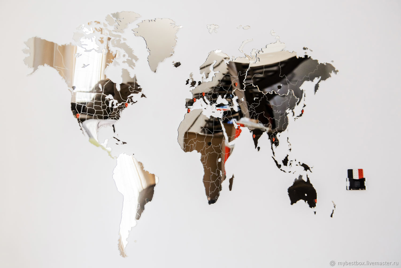 Espejo mapa del mundo 90h54 cm, Decor, Moscow,  Фото №1