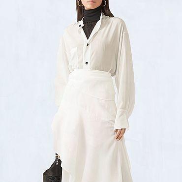 Одежда ручной работы. Ярмарка Мастеров - ручная работа Белая женская блузка. Для работы и офиса. Пошита из блузочной ткани.. Handmade.