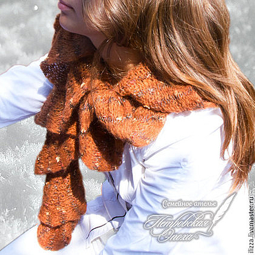 Аксессуары ручной работы. Ярмарка Мастеров - ручная работа Шарф  «Каштан» коричневый. Handmade.