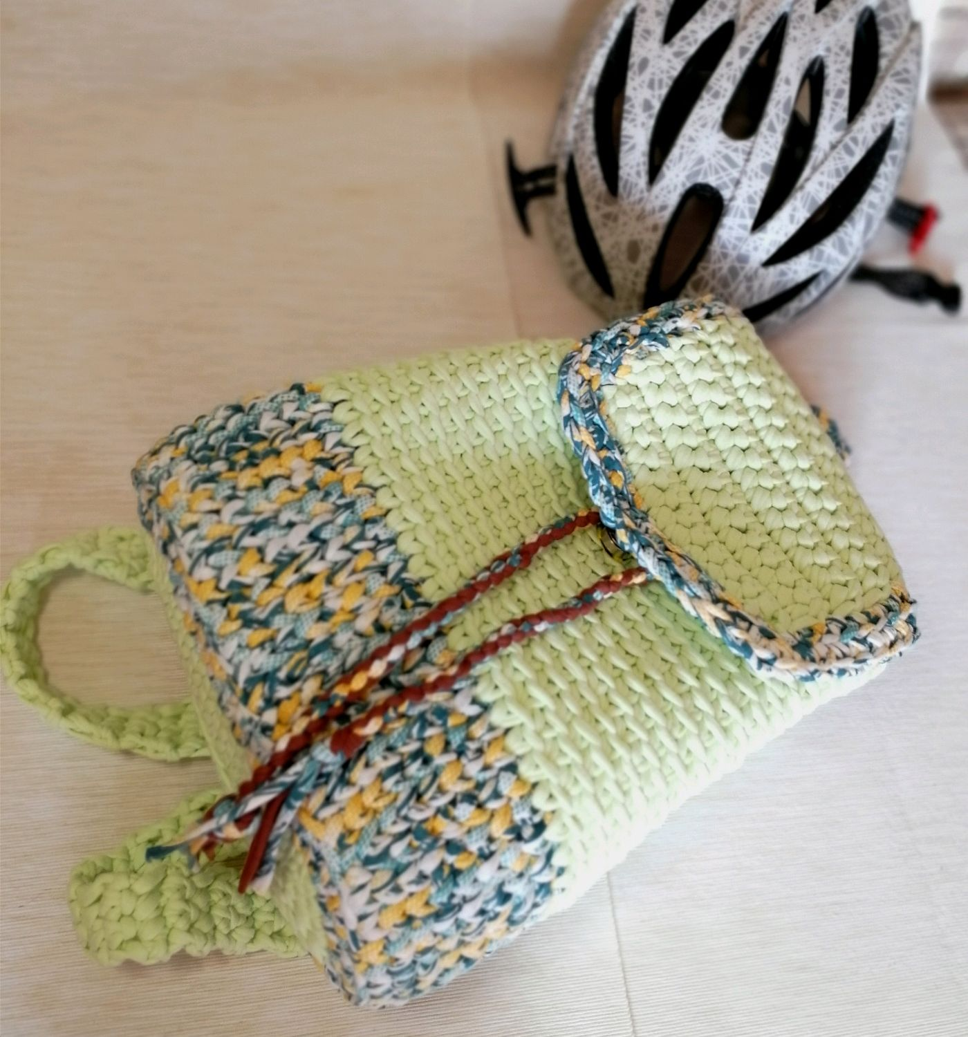 Youth fashion backpack soft lime color knitted from cotton, Backpacks, Voronezh,  Фото №1