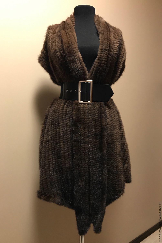 Knitted mink waistcoat under the belt