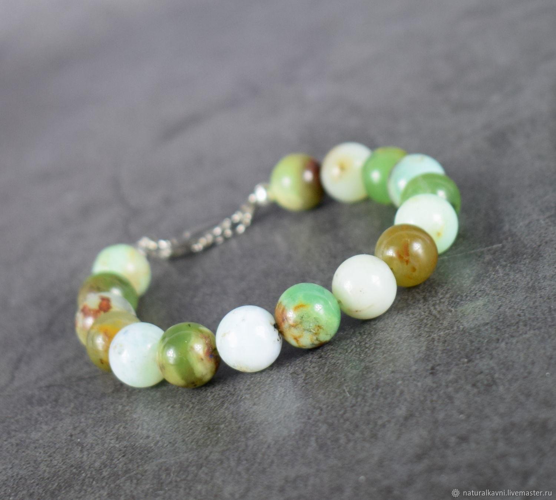 Chrysoprase natural stone bracelet, Bead bracelet, Moscow,  Фото №1