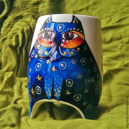 """Кружки и чашки ручной работы. Ярмарка Мастеров - ручная работа. Купить """"Кот Сапфир"""" чашка с ножками (0710). Handmade."""