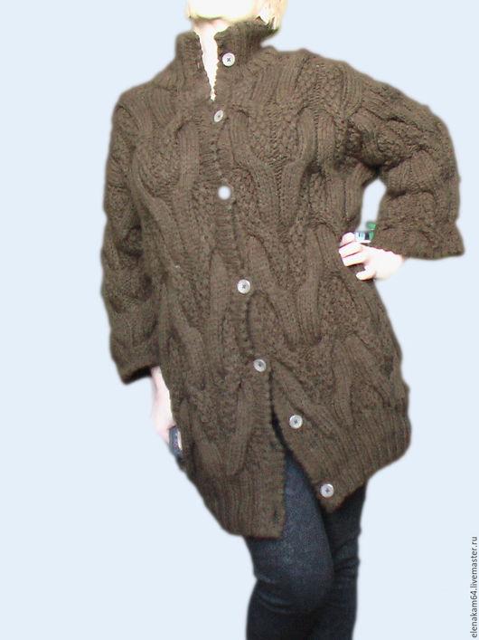 Кофты и свитера ручной работы. Ярмарка Мастеров - ручная работа. Купить кардиган вязаный. Handmade. Коричневый, пальто вязаное, скидка