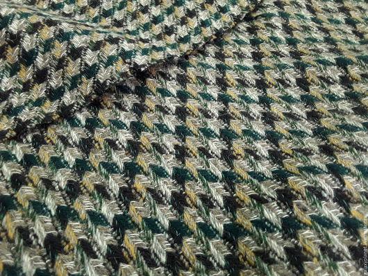 """Шитье ручной работы. Ярмарка Мастеров - ручная работа. Купить Костюмно-пальтовая шерсть в елочку """"Серо-бежевая/т.изумруд/горчичный"""". Handmade."""