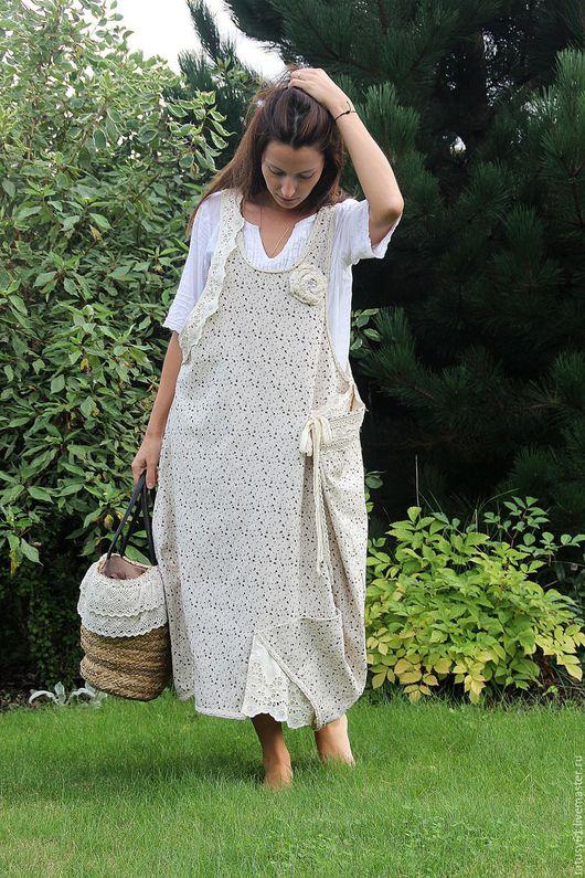 Платья ручной работы. Ярмарка Мастеров - ручная работа. Купить Сарафан-фартук длинный ( бохо, для беременных). Handmade. Бежевый
