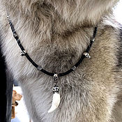 Chain handmade. Livemaster - original item 5 mm thick leather choker with skulls and wolf Fang silver. Handmade.