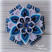 Работы для детей, handmade. Livemaster - original item Ponytail holder Cage blue in the technique of kanzashi. Handmade.