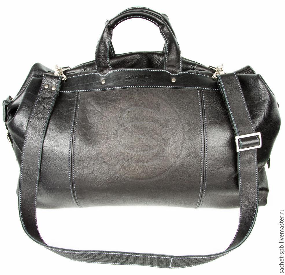 a10bd4728715 Кожинка-САШЕ (sachet- Мужские сумки ручной работы. Кожаная дорожная сумка  черная.
