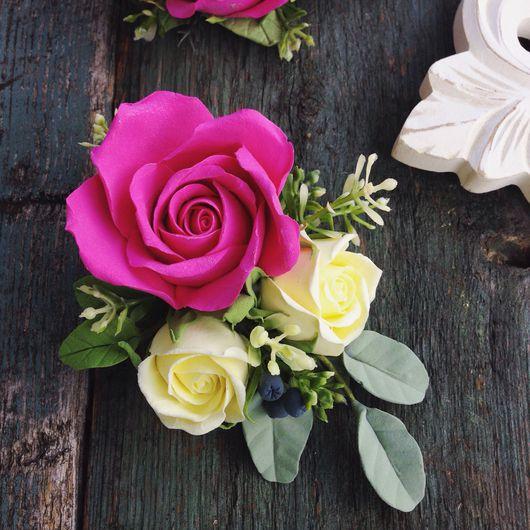 Заколки ручной работы. Ярмарка Мастеров - ручная работа. Купить Заколка зажим розами из полимерной глины 13 см. Handmade.