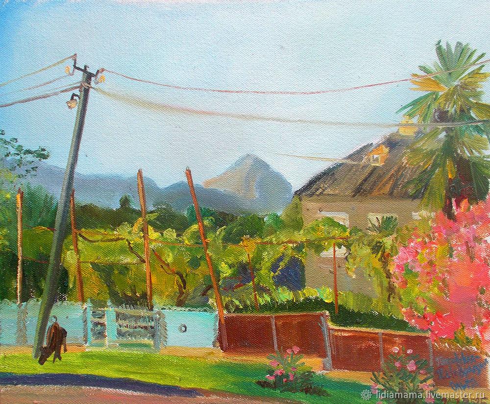 A view of the Cap-mountain from the village of Primorskoye The artwork by Olga Petrovskaya-Petovraji