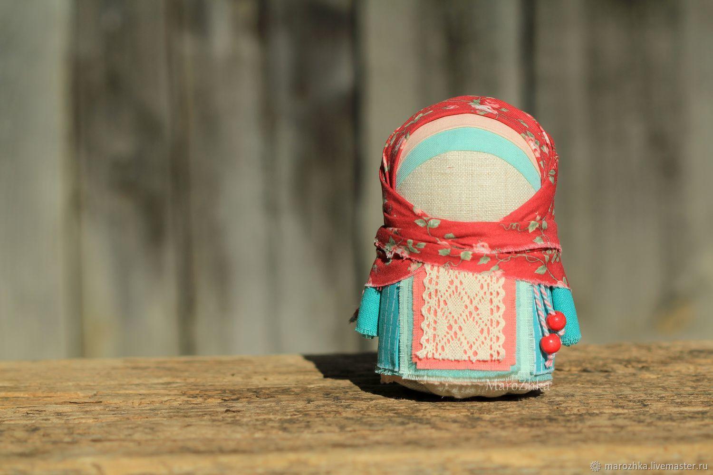 Крупеничка-зерновушка Утро в саду мятный бордовый розы, Народная кукла, Коломна,  Фото №1