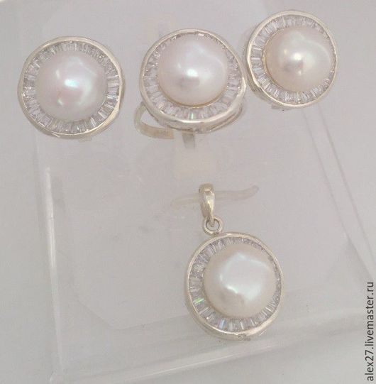 Комплект жемчуг сапфир р.18,6 серебро 925