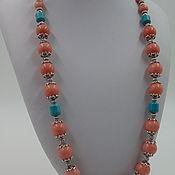 Украшения handmade. Livemaster - original item Beads from natural stones of rhodonite and howlite. Handmade.