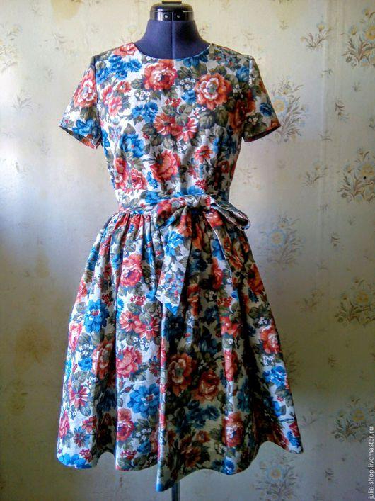 """Платья ручной работы. Ярмарка Мастеров - ручная работа. Купить Летнее льняное платье с пышной юбкой """" Розы"""".. Handmade."""