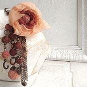 Украшения ручной работы. Ярмарка Мастеров - ручная работа Подвеска, кулон цветок из ткани и кораллы Бохо. Handmade.