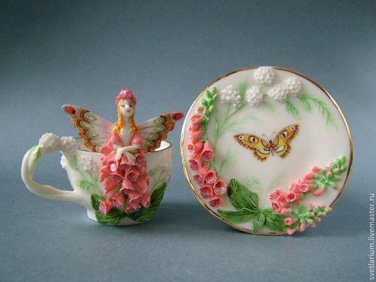 Сервизы, чайные пары ручной работы. Ярмарка Мастеров - ручная работа. Купить Чайная пара Наперстяночка. Handmade. Коралловый, цветок
