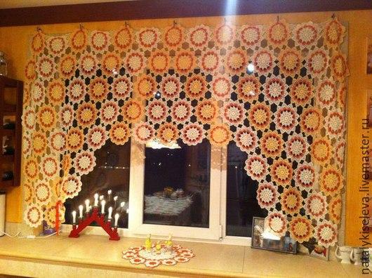 Текстиль, ковры ручной работы. Ярмарка Мастеров - ручная работа. Купить штора кружевная для кухни. Handmade. Белый, вязаная занавеска
