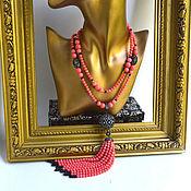 Украшения handmade. Livemaster - original item Necklace with a tassel, Pink Coral Angel Leather author`s work. Handmade.