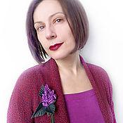 Brooches handmade. Livemaster - original item Lilac brooch made of genuine leather. Handmade.