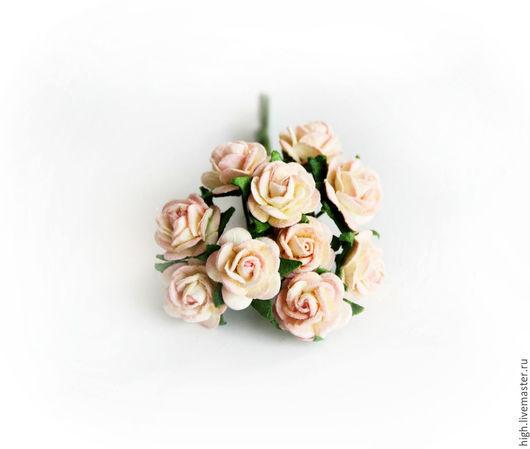 Розочки mini, цвет светлый розовый + молочный , 1 см, РМ-1-10