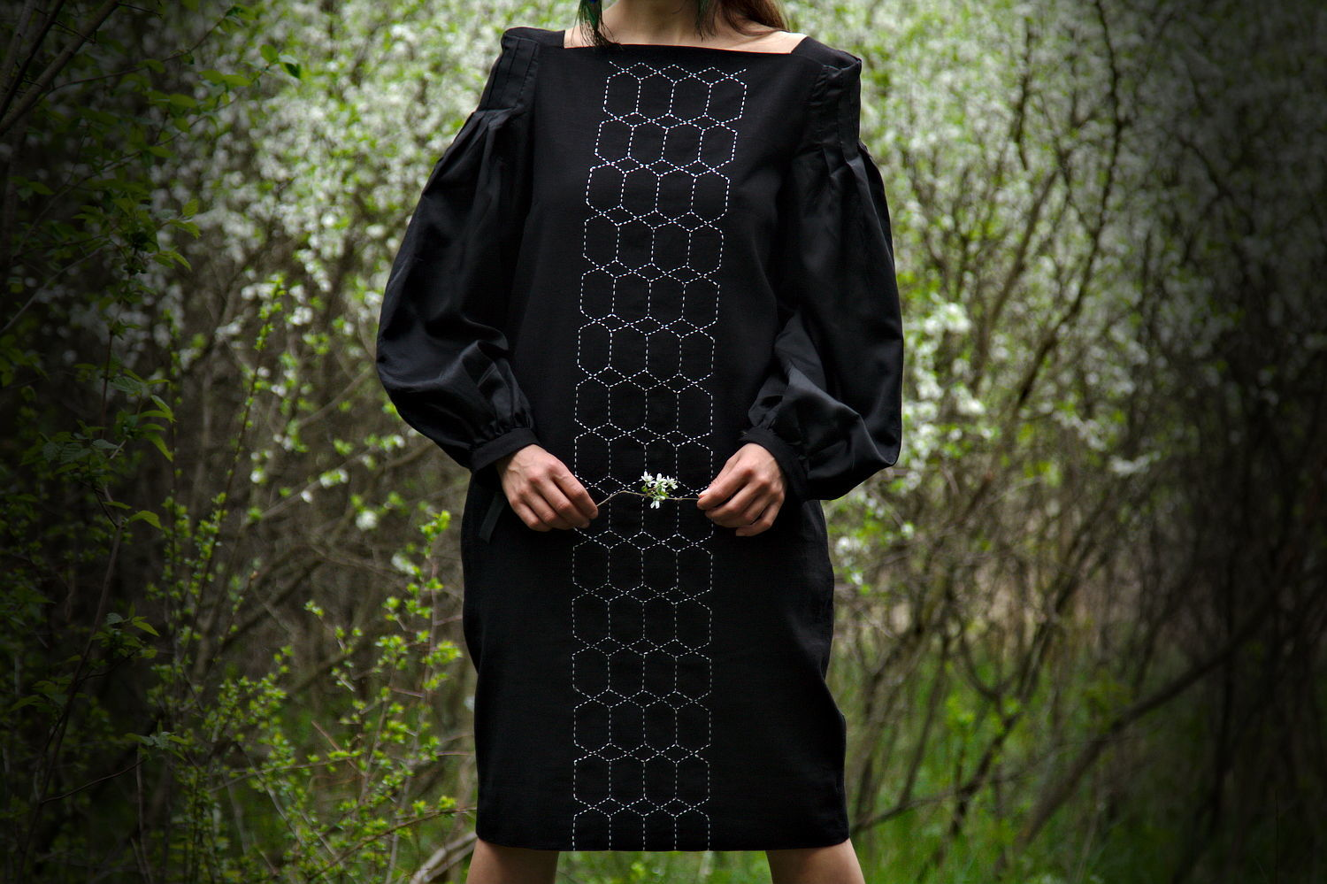 Black Linen Embroidered Midi Dress Flax Clothing Knee Length dress, Skirts, Rostov-on-Don,  Фото №1
