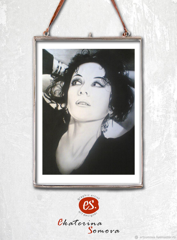 Стильный черно-белый портрет, на заказ, от художника Екатерины Сомовой