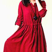 Одежда ручной работы. Ярмарка Мастеров - ручная работа Красное платье Длинное красное платье Красное хлопковое платье. Handmade.