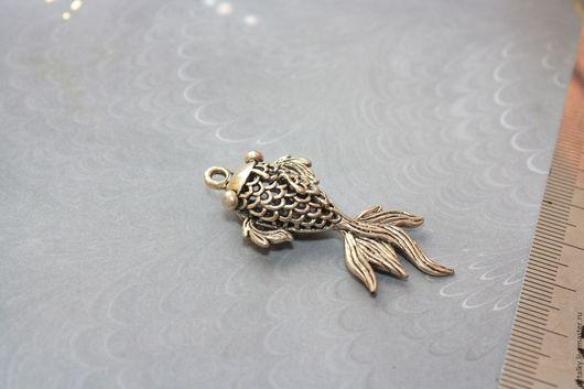 """Для украшений ручной работы. Ярмарка Мастеров - ручная работа. Купить Подвеска под серебро большая """"Рыбка"""" 46х20 мм. Handmade."""