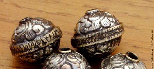 Бусина шар серебро ручная гравировка Непал. Тибетские Бусины  для колье, непальские бусины для браслетов, Тибетская бусина для серег.