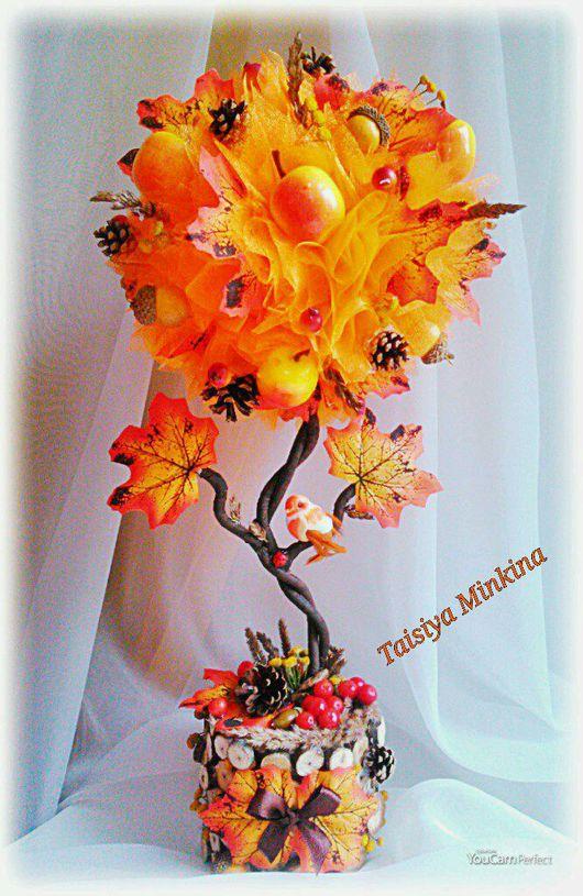 """Топиарии ручной работы. Ярмарка Мастеров - ручная работа. Купить Топиарий """"Осенний вальс""""!. Handmade. Осень, подарок, Дерево счастья"""