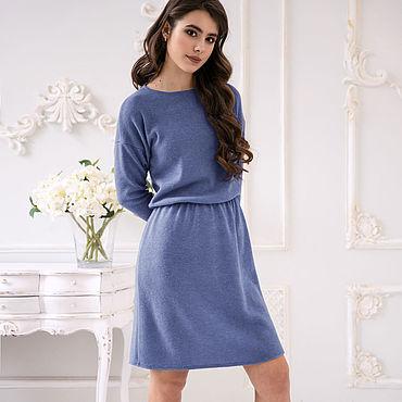 09e4a7d79e5b6c1 Серо голубое платье из ангоры (Джинс). Весеннее платье свободного кроя