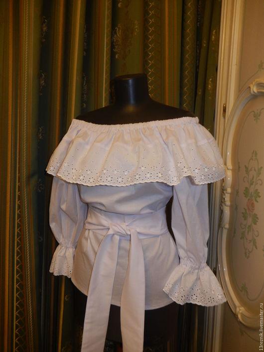 Блузки ручной работы. Ярмарка Мастеров - ручная работа. Купить Блузка белая. Handmade. Однотонный, блузка нарядная, пошив на заказ