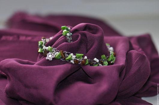Комплекты украшений ручной работы. Ярмарка Мастеров - ручная работа. Купить комплект браслет и кольцо. Handmade. Оливковый, белый бисер