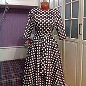 Одежда ручной работы. Ярмарка Мастеров - ручная работа Хлопковое платье миди с втачным рукавом Мокко 3. Handmade.