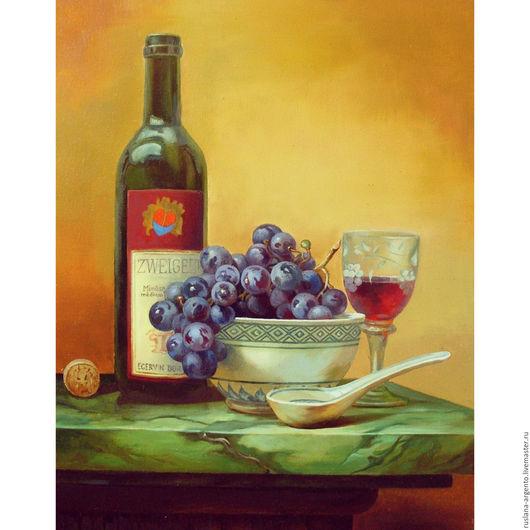 Натюрморт ручной работы. Ярмарка Мастеров - ручная работа. Купить Натюрморт с вином и виноградом.Масло,холст.Копия Gabor Toth. Handmade.